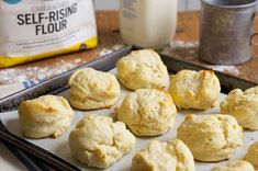 You'll need just two ingredients to make these tender, rich biscuits. SS: made these and I love it! They are super easy to put together. I used tsp of salt, and thought it needed that. Sourdough Biscuits, Baking Powder Biscuits, Gluten Free Biscuits, Easy Biscuits, Homemade Biscuits, Easy Pumpkin Pie, 5 Ingredient Recipes, Breakfast Biscuits, Self Rising Flour