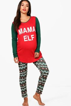 5c21c2f31e4d boohoo Maternity Ella Mama Elf Christmas PJ Set #maternitychristmas  #maternitypajamas #affiliate