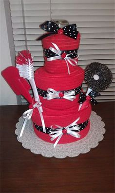 lady bug towel cake, made with kitchen towels
