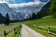The Ravenska Kocna valley hemmed in by the Kamnik-Savinja Alps in Zgornje Jezersko, Slovenia