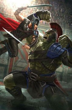 Thor: Ragnarok illustration I painted up of Thor battling the Hulk for the official poster. I served as Marvel Studios Visual Development Supervisor on this film. Marvel Comics, Odin Marvel, Marvel Fanart, Marvel Avengers, Marvel Heroes, Fighter Girl, Street Fighter, Hulk Vs Thor, Loki Thor