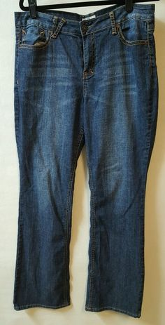 Cato Boot Cut Blue Stretch Jeans Size 16 36 X 32 Decorated Rear  Pockets #Cato #BootCut