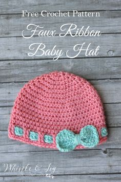 Free Crochet Pattern- Faux Ribbon Baby Hat. Make this cute and easy baby hat, perfect for a baby shower gift, or for your own little one. Adorn with a flower or bow for a perfect finishing touch.