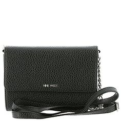 Nine West Aleksei Cross Body, Black. Rectangular cross-body bag in pebbled faux leather featuring logo hardware on flap and multiple interior compartments. Detachable chain-and-faux-leather cross-body strap. Leather Crossbody, Crossbody Bag, Evening Bags, Nine West, Handbags, Chain, Detail, Cross Body, Shoulder Bags