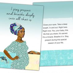 Natural Birth Pregnancy Affirmation Cards | love the illustration and words