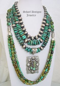 Schaef Designs rare Hubei turquoise, totem lizard, & sterling silver Navajo Pearl necklace pairing | New Mexico
