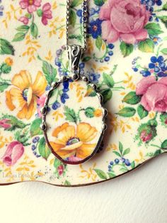 Broken china jewelry oval pendant necklace antique Rosalynde chintz yellow poppy and forget me nots
