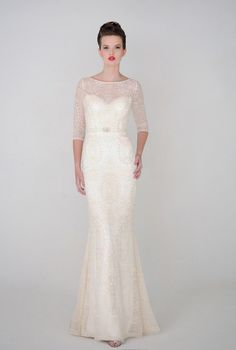 21 Ridiculously Stunning Long Sleeved Wedding Dresses: Eugenia Couture's sleek and stylish Anastasia gown from the spring 2015 collection is dreamy, detailed and just plain darling!