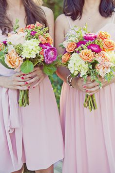 Bright Bouquets! Coral, pink and cream. Maybe add a shot of purple.