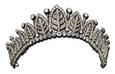 A DIAMOND TIARA Designed as fifteen graduated old mine-cut diamond arcades enclosing palmettes with collet-set diamond spacers, to the collet circlet, circa 1860 (three small diamonds deficient) Christie's