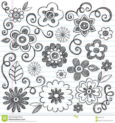 Drawing Doodles Sketches Clip Art of Flowers Sketchy Doodle Vector Set - Search . - Flowers Sketchy Doodles Hand-Drawn Back to School Notebook Vector Illustration Design Elements on Lined Sketchbook Paper Background Doodles Zentangles, Zentangle Patterns, Art Patterns, Flower Patterns, Doodle Drawings, Doodle Art, Easy Drawings, Notebook Doodles, Notebook Paper
