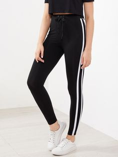 Shop Drawstring Waist Side Striped Leggings online. SheIn offers Drawstring Waist Side Striped Leggings & more to fit your fashionable needs.