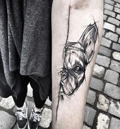 Sketched French Bulldog by Inez Janiak #frenchbulldogszeichnung