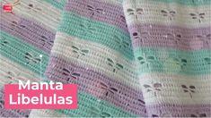Hermosa y delicada Tejiendo con Midori nos enseña a tejer una manta en tonos pasteles y con una bella figura de libélula calada, aprende a tejerla con Pop Corn, Baby E, Crochet Accessories, Youtube, Crochet Blankets, Crochet Poncho Patterns, Youtubers, Blanket Crochet, Youtube Movies