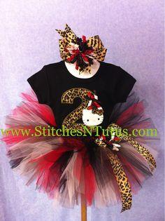 Custom 1st Birthday cheetah/leopard Hello Kitty ONESIE TUTU SET. $42.00, via Etsy.