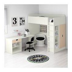 IKEA - STUVA, Loftseng med 1 skuffe/2 låger, hvid/birk, , Du kan montere skrivebordet parallelt med eller vinkelret på sengen eller med 2 ADILS ben, så du får et fritstående skrivebord.