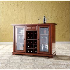 Crosley Alexandria Sliding Top Bar Cabinet in Classic Cherry - KF40002ACH - Lowest price online on all Crosley Alexandria Sliding Top Bar Cabinet in Classic Cherry - KF40002ACH