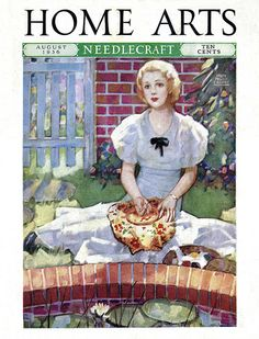 Cover of the August 1936 issue of Home Arts Needlecraft magazine. Illustrated by Ralph Pallen Coleman.
