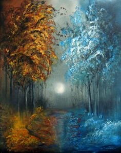 "Love this....Megan Morris; Acrylic, 2013. ""Moonlit Woodland, Original Painting"""