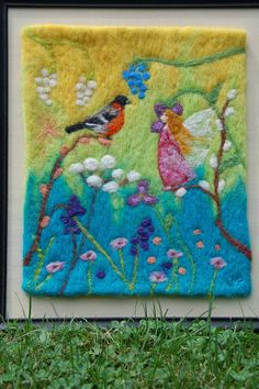 Fairy and Bird Needle Felted Tapestry Wool Painting by TheMoonGoat
