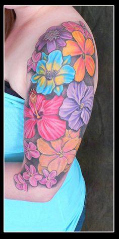 flower tattoo, color tattoo, upper arm tattoo, plurabella, brenda flatmo, copyright 2011