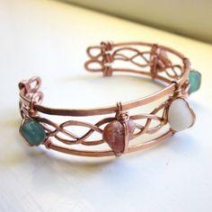 Braided Copper and Beach Stones Cuff Bracelet by RockNcopper, $75.00