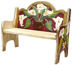 The perfect combination of beauty and utility, this stunning maroon lily bench will add color and charm to any seating area. Hand carved and hand painted by highly skilled artisans in central Mexico, these benches are heirloom-quality, to be passed down from one generation to the next. So summon the interior designer from within, and create a fabulous new space in your home with this striking lily bench as the centerpiece.
