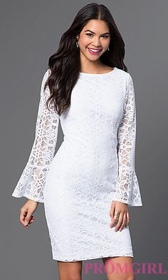 White Short Lace Dress with Bell Sleeves at PromGirl.com