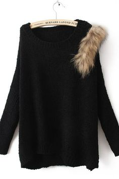 Black Long Sleeve Batwing Fur Embellished Sweater