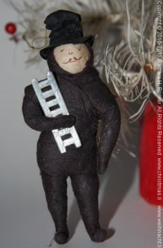 german cotton christmas ornament | Old Christmas spun Cotton Chimney Sweep with a silver Dresden paper ...