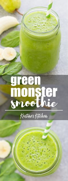 Immunity Boosting Green Monster Smoothie!!! This healthy green smoothie is packed full of healthy ingredients, including a good dose of Vitamin C! #smoothie #greensmoothie #healthyeating #spinach #breakfast #healthyfood #healthyrecipes