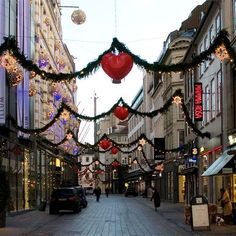Stroget St in Copenhagen, Denmark at Christmas time. My favorite place in Copenhagen.