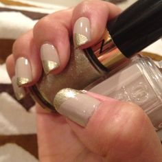 Essie: Sand Tropez / Revlon: Gold Coin  Excuse the mess on my fingers!