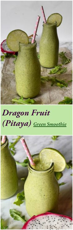Nutritious dragon fruit green smoothie made with fresh dragon fruit, banana, baby arugula and unsweetened almond milk.