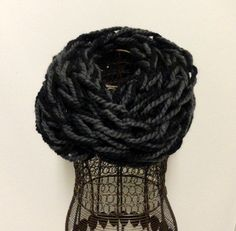 Gray and Black Chunky Knit Infinity Scarf by KimLKrafts on Etsy, $24.00