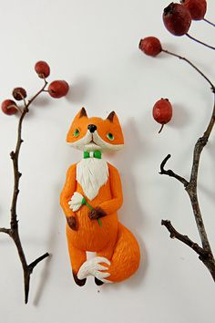 Bright red fox polymer clay jewelry fox brooch от sofoxyclay