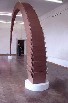 """Tobias Putrih, Connection I, wood, cardboard box, ca. 5 x 10 m, 2004. View at """"Seven Sins"""", Moderna Galerija, Ljubljana, 2005"""