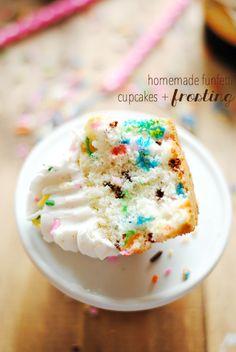 Homemade Funfetti Cupcakes & Frosting | www.somethingswanky.com