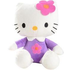 "Hello Kitty Plush Soft Toy 8"" Purple & Pink Flower"