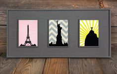 Paris New York City Rio De Janeiro Silhouette by WITHHEARTSTUDIOS, $40.00