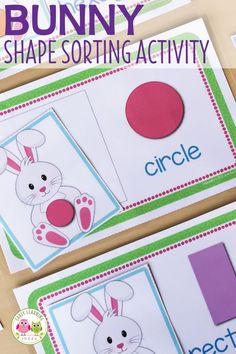 From learning activities to crafts, find many bunny activities for your preschool and pre-k kids. Find ideas for your Easter theme or spring theme lessons. Easter Activities For Preschool, Autism Activities, Sorting Activities, Preschool Activities, Shape Activities, Preschool Centers, Teaching Shapes, Shape Games, Classroom Themes