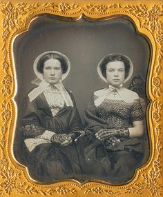 2 women wearing summer bonnets sixth sized daguerreotype in a mat stamped Bailey