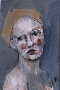 Image of Small Painted Portrait - Amber