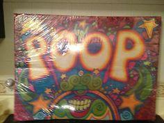 """Vintage Black Light Psychadelic """"Poop"""" Poster"""