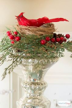 Atta Girl Says | Winter is For the Birds: Wishful Foyer Decorating | http://www.attagirlsays.com