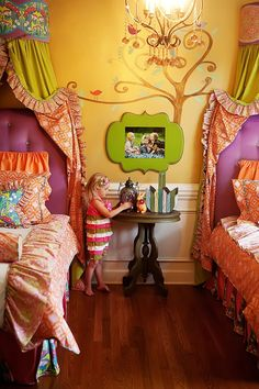 Bright & beautiful little girl room... :)) I can not wait to start planning a makeover for ry's room!