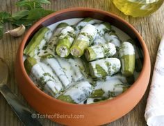 Stuffed zucchini in yogurt sauce #lebanese #lebanesefood