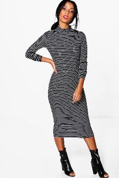 #boohoo High Neck Striped Ribbed Bodycon Midi Dress - #Cora High Neck Striped Ribbed Bodycon Midi Dress - black