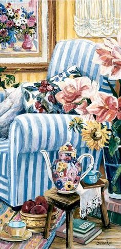 "Susan Rios Handsigned & Numbered Giclee Limited Edition on Canvas:""The Antique Teapot"" - Susan Rios"