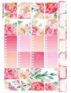 Gilded Peony Printable Weekly Sticker Kit  by TheWanderlustPlanner